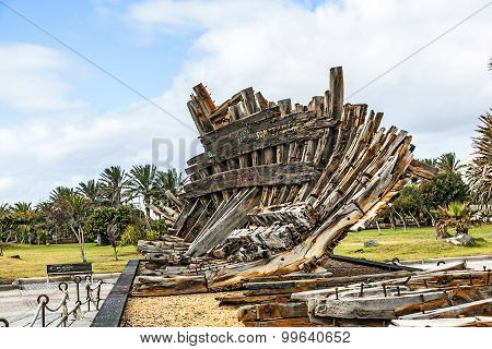 Remains Of Old Shipwreck In A Park In Arrecife