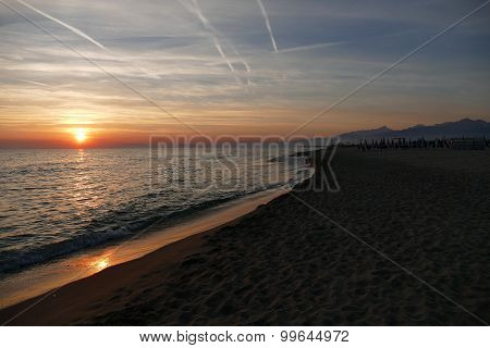 Sunset At The Beach Of Viareggio Italy