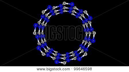 Boron nitride nanotube structure isolated on black background. 3d illustration