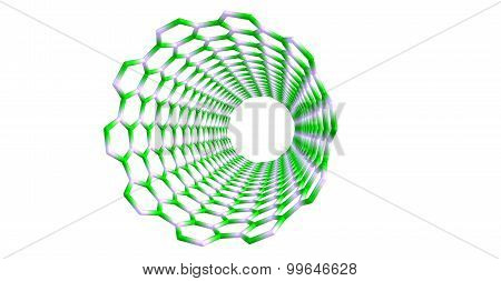 Silicon carbide nanotube structure isolated on white background. 3d illustration.