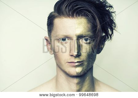 Portrait Of Man With Golden Face