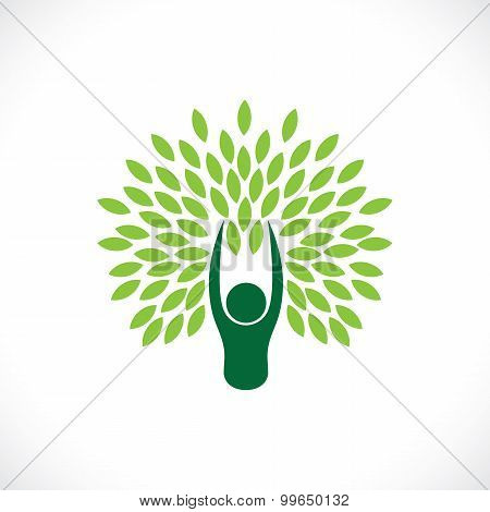 Person As Tree One With Nature - Eco Lifestyle Concept Vector.