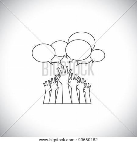 Line Design Vector - Abstract Hands Of People Requesting Help, Assistance