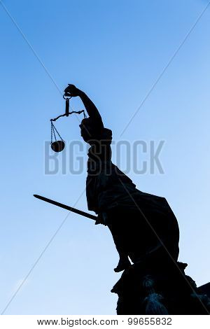 Statue Of Lady Justice (justitia) In Frankfurt