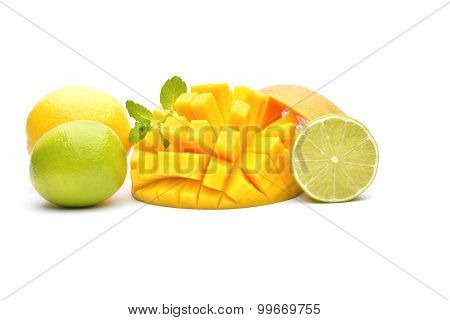 Exotic Fruits On A White Background