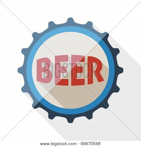 Beer Bottle Cap Icon With Long Shadow On White Background