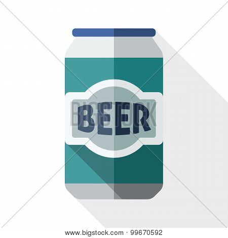 Beer Can Icon With Long Shadow On White Background