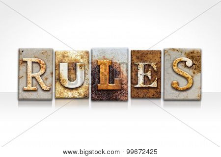 Rules Letterpress Concept Isolated On White