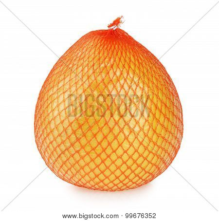 Pomelo Fruit Wrapped In Net And Plastic Foil Isolated