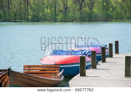 some small boats in a lake in germany
