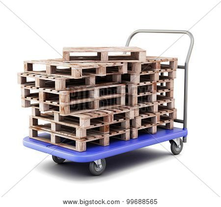 Transport Trolley With Pallets Close-up