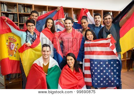 International multiethnic exchange of students, happy students presenting their countries with flags poster