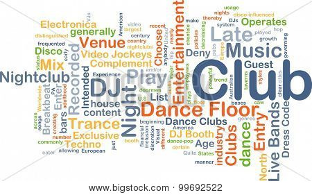 Background concept wordcloud illustration of club