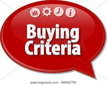 Speech bubble dialog illustration of business term saying Buying Criteria