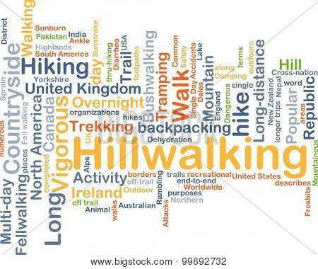 Background concept wordcloud illustration of hillwalking