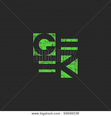 Geek Green Word, Cool Grange Style Poster, Original Mockup Print For T-shirt
