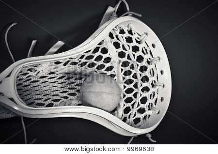 Lacrosse Head With Ball Black And White