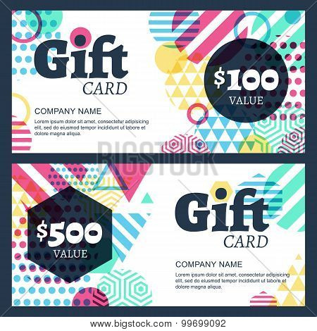 Vector Creative Gift Voucher Or Card Background Template. Abstract Multicolor Geometric Pattern.