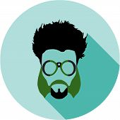 Super hero mask glasses collection. Flat style avatar icon. Colorful vector illustration eps 8. Geek, hipster eyeglasses frames, beard, hairstyles, moustache in different character colors. poster
