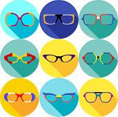 Super hero mask glasses collection. Flat style avatar icon. Colorful vector illustration eps 8. Man and women, retro, wayfarer, aviator, geek, hipster eyeglasses frames in different character colors. poster