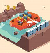 Fun Rafting activity. isometric art poster