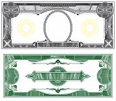 Blank banknote layout with obverse and reverse based on dollar bill poster