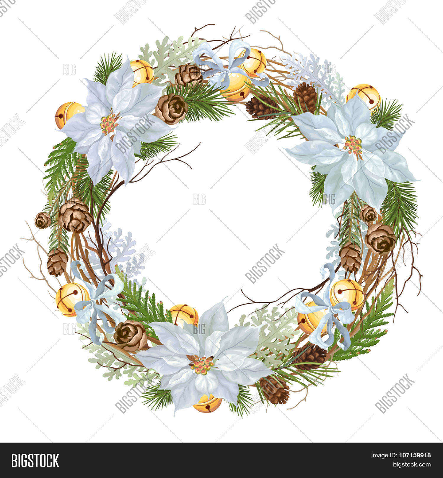 Christmas Wreath Blue Vector Photo Free Trial Bigstock