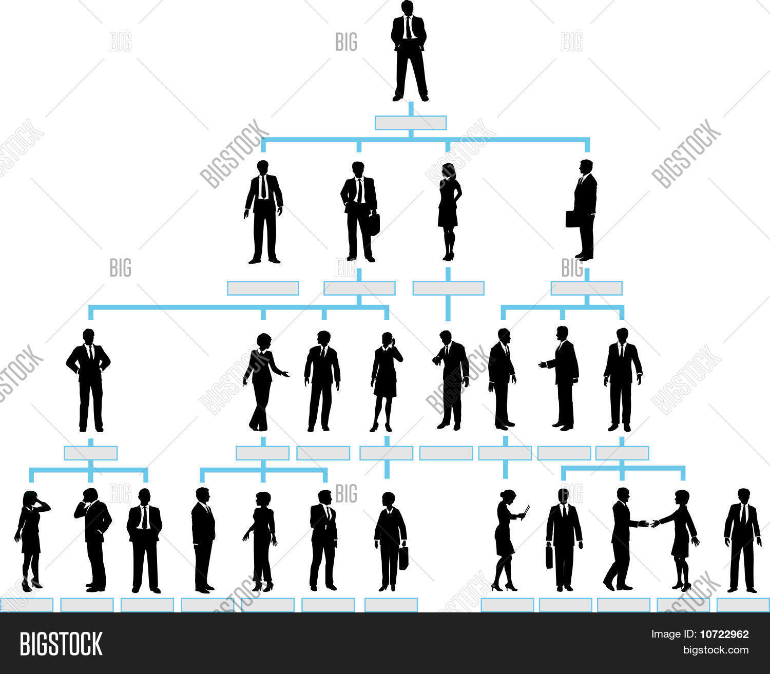 Organizational Corporate Hierarchy Chart Of A Company Silhouette People