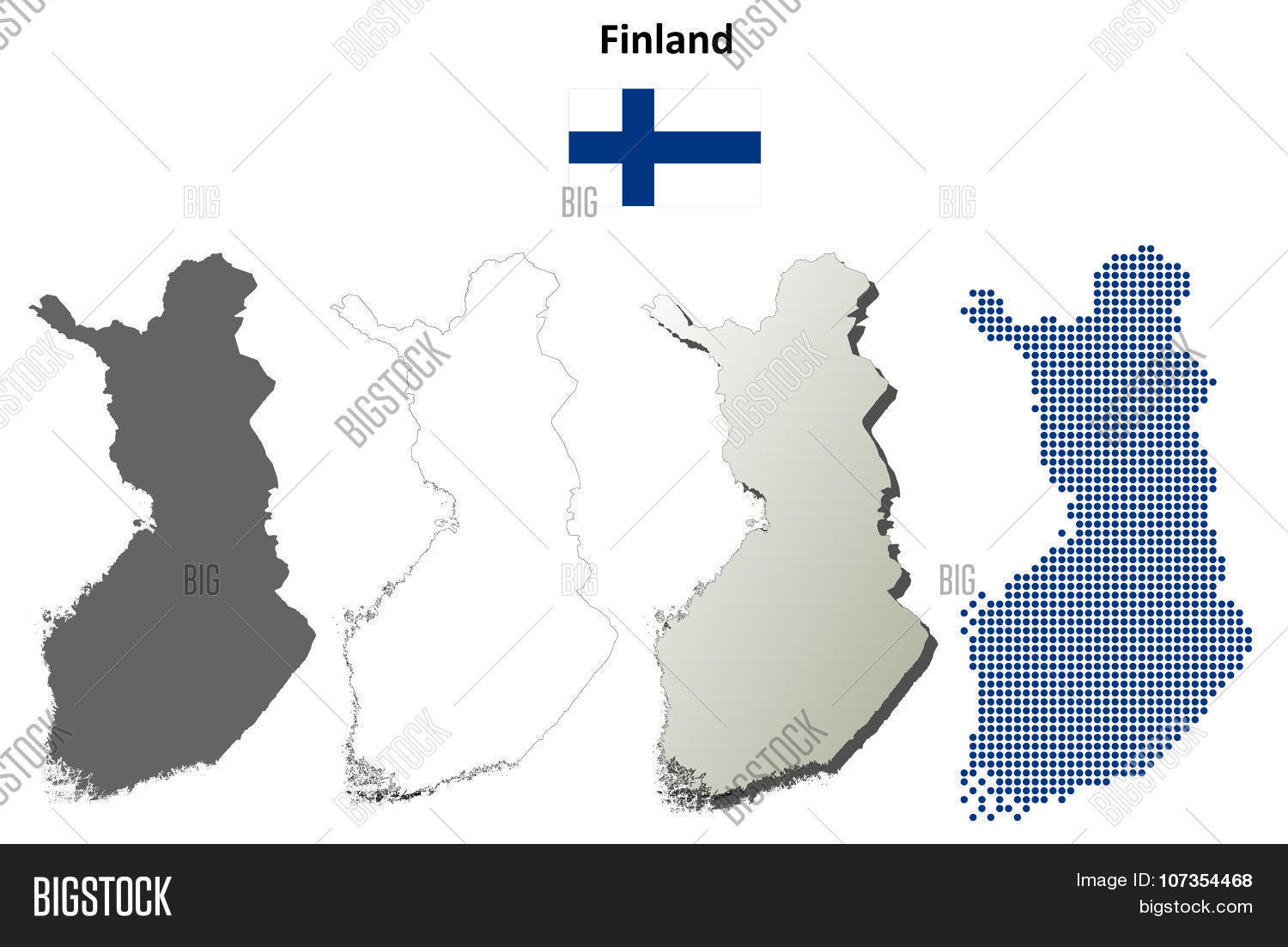 Finland Outline Map Vector & Photo (Free Trial) | Bigstock