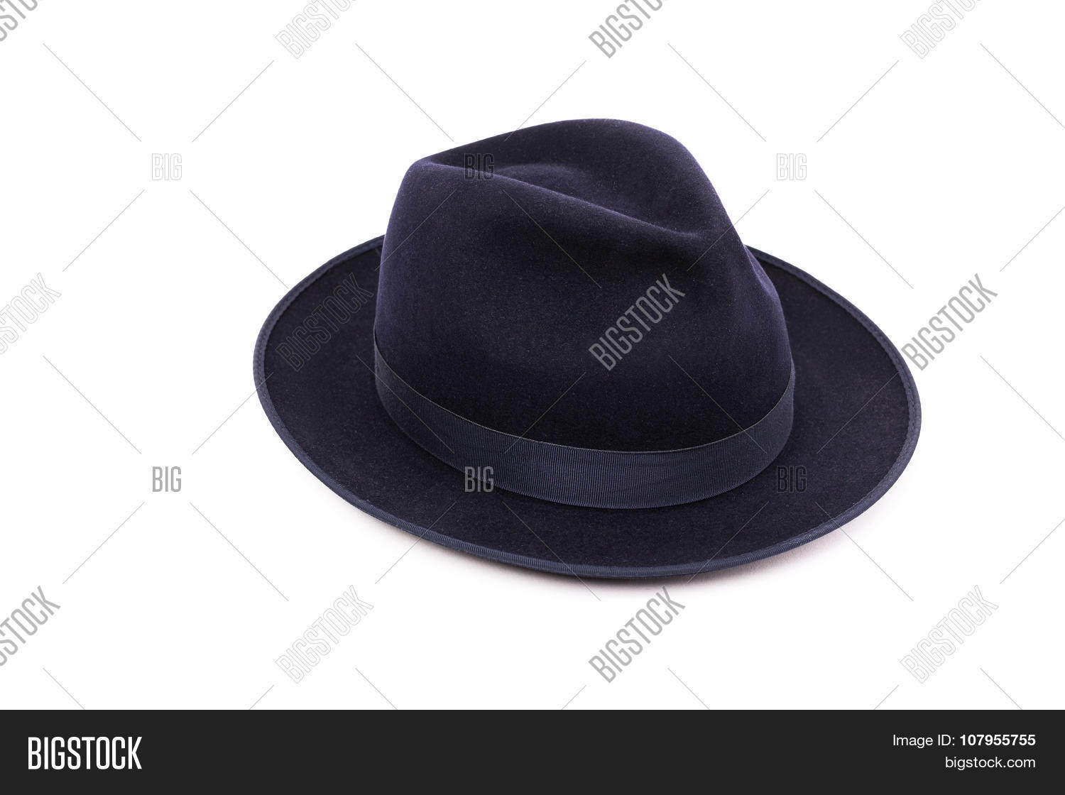 824b49e70ec A Classic Low Crown Fedora Hat In A Dark Blue Color. Isolated On White  Background