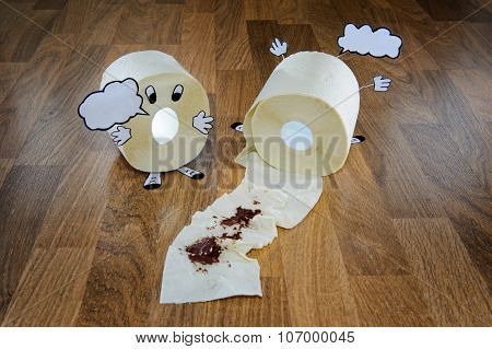 Toilet Papers As Characters In Accident With Empty Bubbles