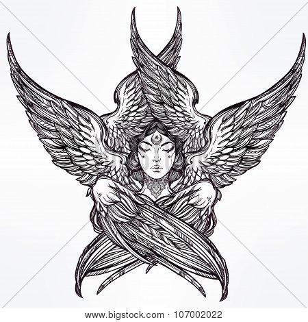 Hand drawn romantic six winged Angel.