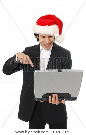 Businessman Pointing At A Computer Screen