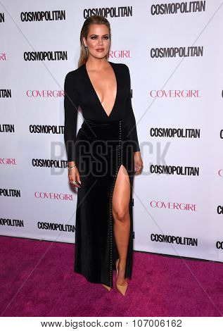 LOS ANGELES - OCT 13:  Khloe Kardashian arrives to the Cosmopolitan's 50th Birthday Party on October 13, 2015 in Hollywood, CA.