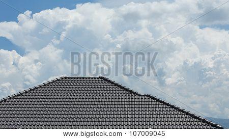 Black Tile Roof On Building Residence House