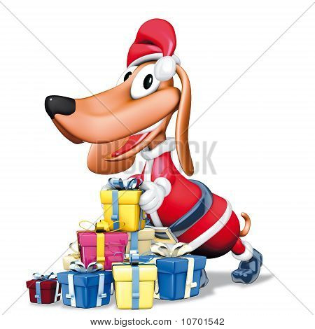 3d illustration, Santa Claus dog and gift poster