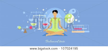 Balanced State Woman Icon Flat Isolated