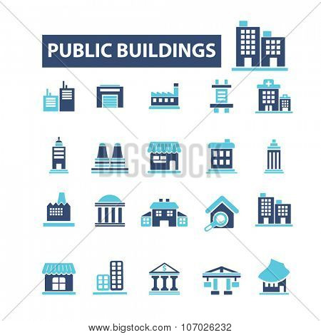administrative, public buildings, houses  icons, signs vector concept set for infographics, mobile, website, application