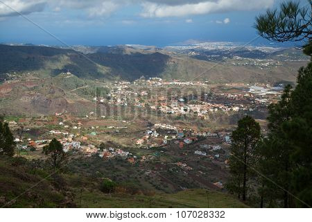 Gran Canaria, View From Above Over Valsequillo;