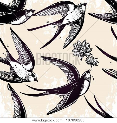 Seamless pattern with Swallows in the clouds.