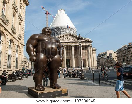 PARIS, FRANCE - SEPTEMBER 8, 2014: Paris - A mongolian statue in standing position by Shen Hong Biao located near the Pantheon