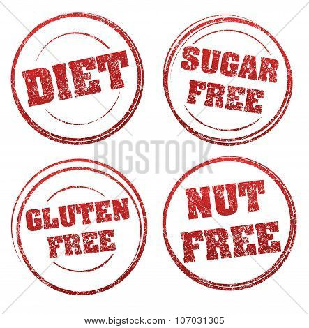 Set Of Four Red Grunge Rubber Stamps With Captions: Diet, Sugar Free, Gluten Free, Nut Free