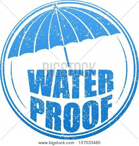 Abstract Blue Grunge Rubber Stamp With Caption Waterproof And Stylised Umbrella