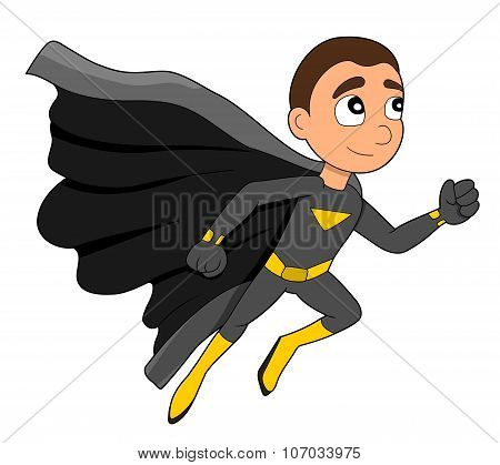 Running Superhero Boy Cartoon
