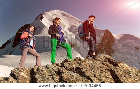 Group of climbers on alpine background