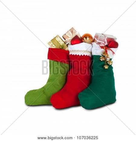 Christmas socks with gifts. white background. isolated