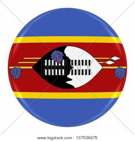 Swazi Flag Badge - Flag Of Swaziland Button Isolated On White