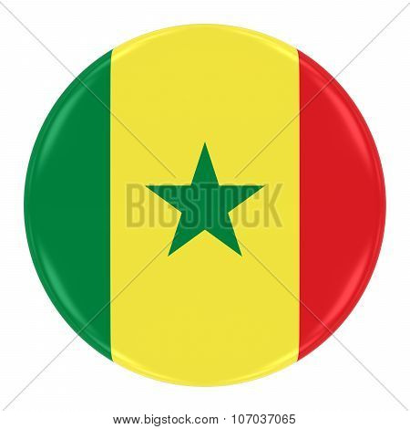 Senegalese Flag Badge - Flag Of Senegal Button Isolated On White