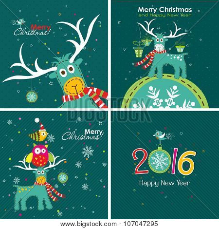 Christmas greeting card with a deer, the owl and the words, vector