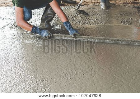 Mason building a screed coat cement working poster